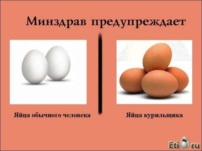 Яйца здорового человека и яйца курильщика