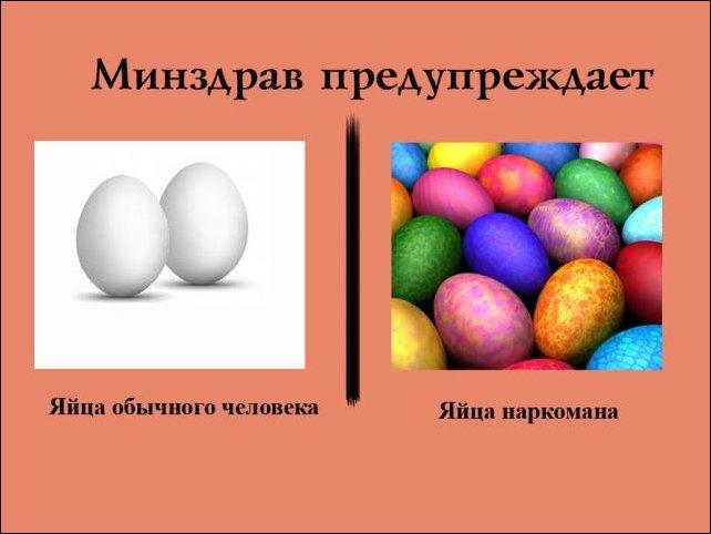 Яйца здорового человека и яйца наркомана