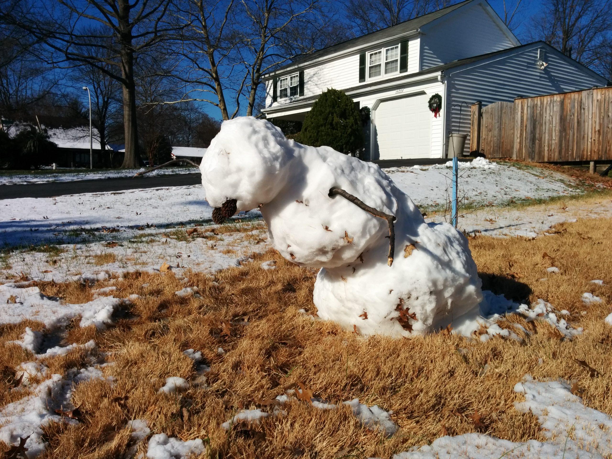 Снеговик приуныл